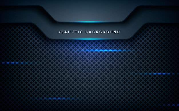 Blue abstract dimension on black Premium Vector