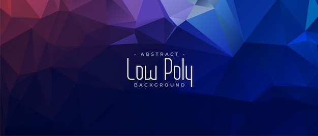 Blue abstract low poly triangular banner design Free Vector