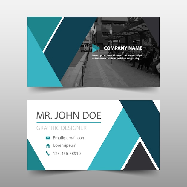Blue abstract modern corporate business card