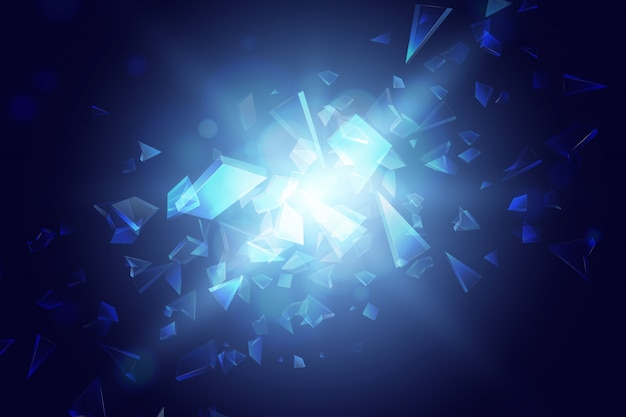 Blue abstract polygon explosion background Premium Vector