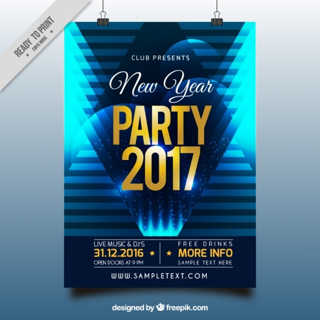 Blue abstract poster of new year party