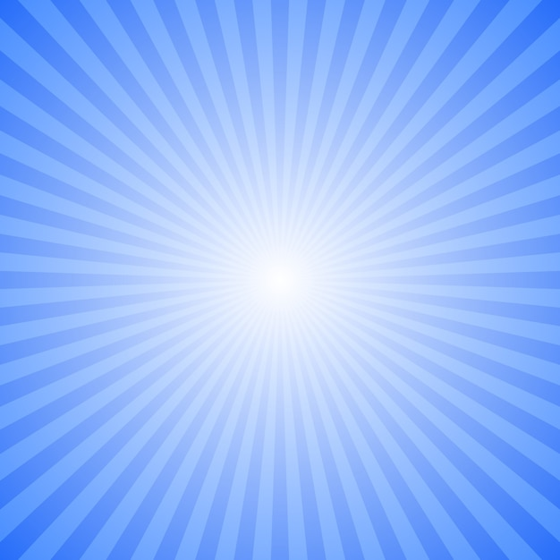 Blue abstract ray burst background - motion vector graphic design from striped rays Premium Vector