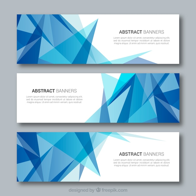 Blue abstract shapes banners