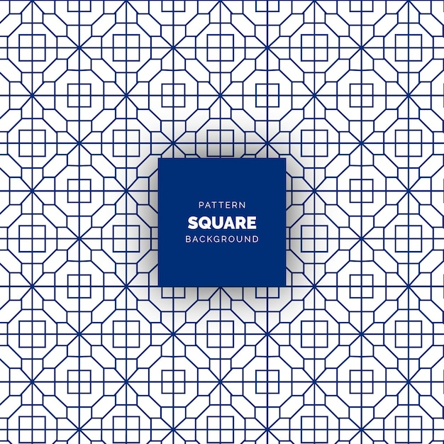 Blue abstract square seamless geometric pattern Premium Vector