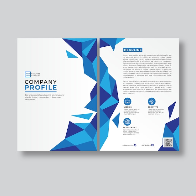 Company Profile Design Template: Blue Abstract Style Company Profile Cover Template