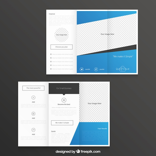 blue abstract trifold template vector free download