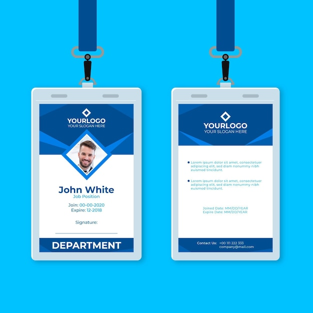 Blue abstract vertical id card Free Vector