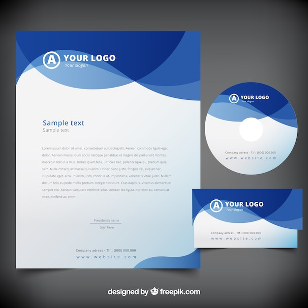 Corporate Stationery: Blue Abstract Waves Business Stationery Vector