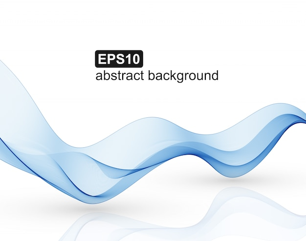 Blue abstract waves on white background. Premium Vector