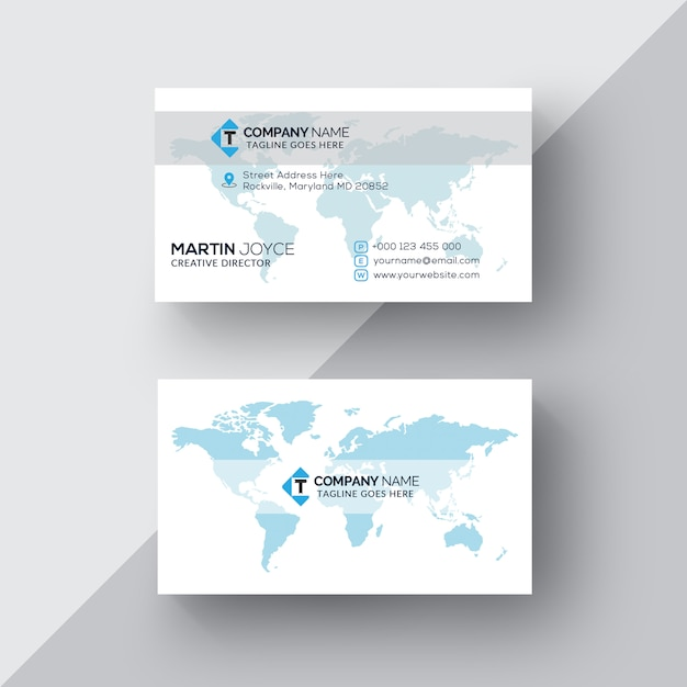 Blue accent world map business card vector premium download blue accent world map business card premium vector colourmoves