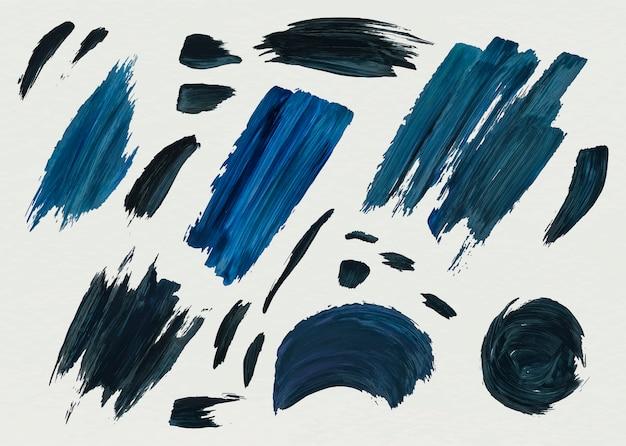 Blue acrylic paint brush strokes Free Vector