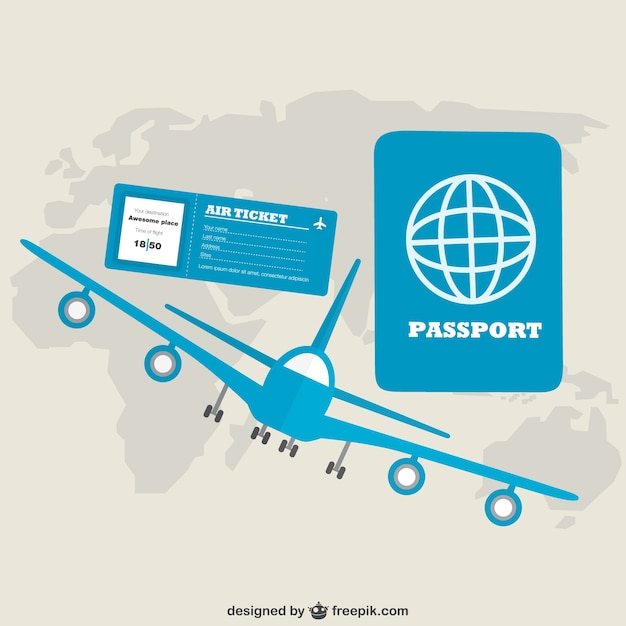 Blue aireplane and passport with world map Free Vector