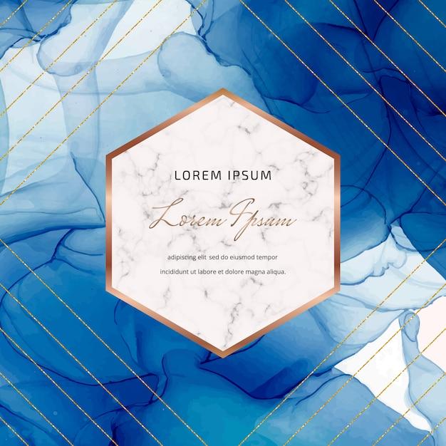 幾何学的な大理石のフレーム、ゴールドのキラキララインと青いアルコールインク背景。 Premiumベクター