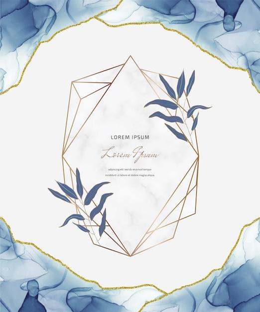 幾何学的な大理石のフレームと葉を持つ青いアルコールインクキラキラカード。抽象的な手描きの背景。 Premiumベクター