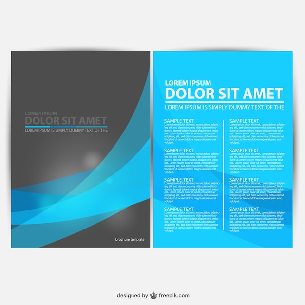 Blue and black brochure template vector free download for Free brochure template download