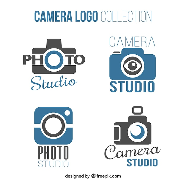 Blue and black camera logo collection