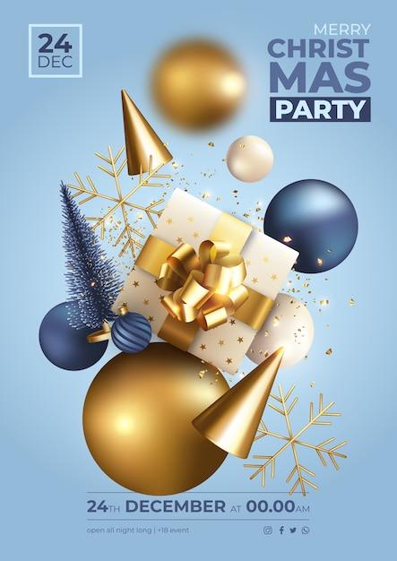 현실적인 장식으로 파란색과 황금 크리스마스 파티 포스터 무료 벡터