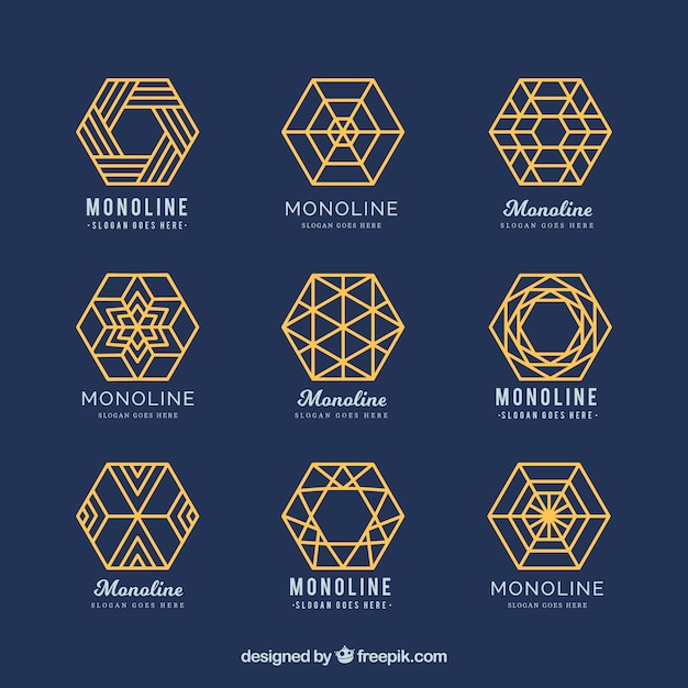 Blue and golden geometric logos in monoline style