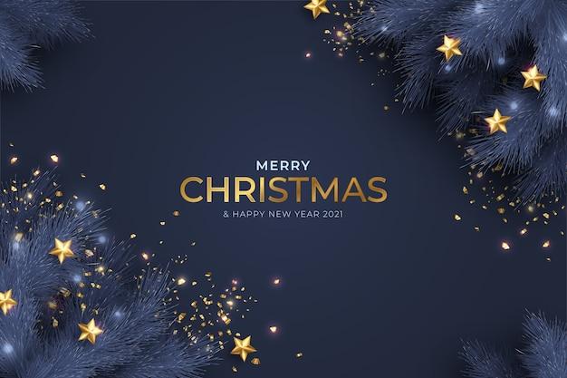 현실적인 장식으로 파란색과 황금 메리 크리스마스와 새 해 카드 무료 벡터