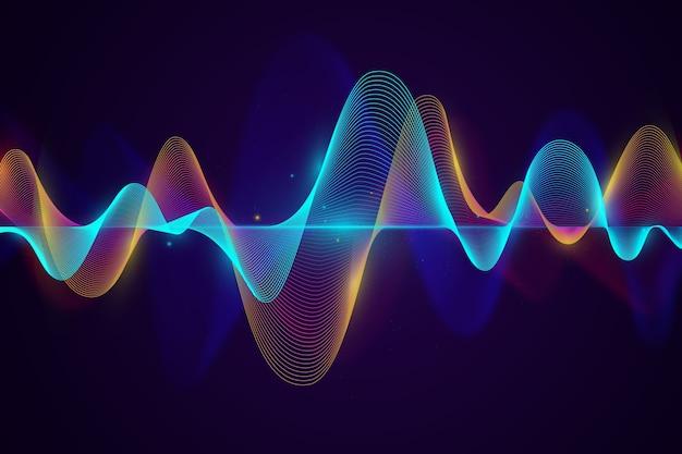 Синий и золотой фон звуковых волн Premium векторы