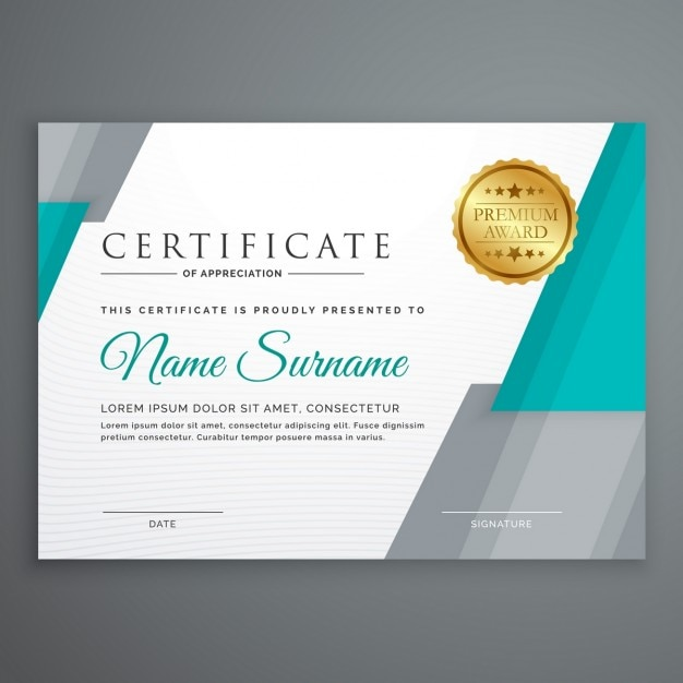 blue and gray certificate with a golden seal vector free