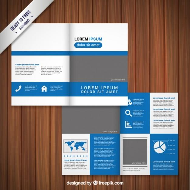 blue and grey brochure design vector