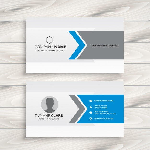 blue and grey business card design vector free download
