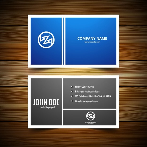Blue and grey business card