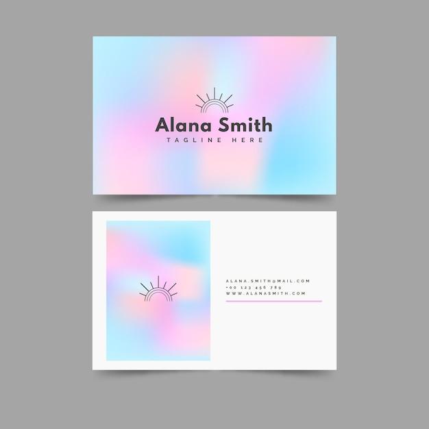 Шаблон визитной карточки голубой и розовый градиент Бесплатные векторы