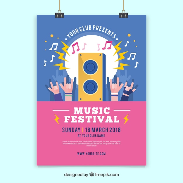 Blue and pink music festival flyer template Free Vector