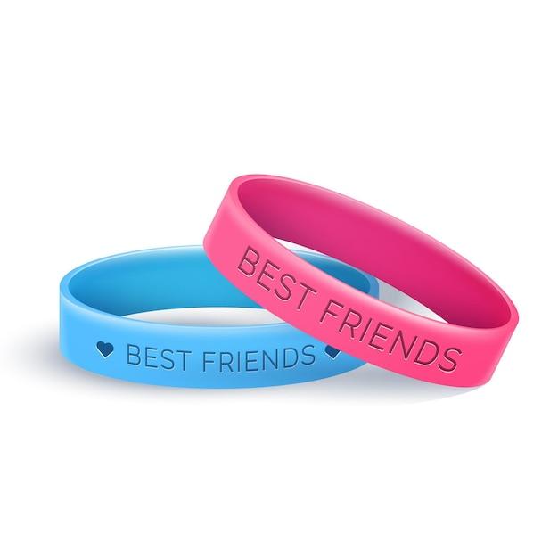 青とピンクのリアルな友情バンド 無料ベクター