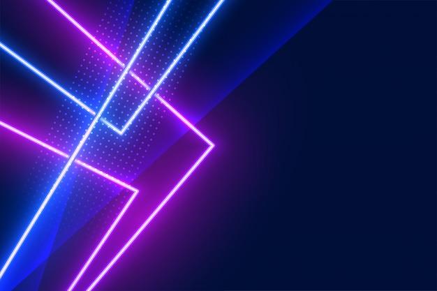 青と紫の幾何学的なネオンの光の効果の線の背景 無料ベクター
