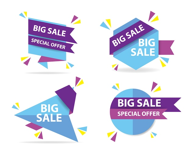 Blue and purple shopping sale banners