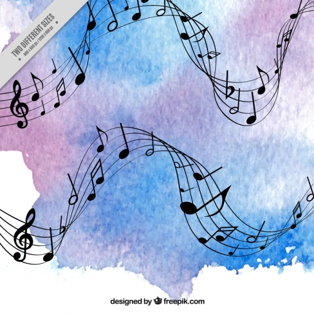 Blue and purple watercolor music background Vector | Free Download