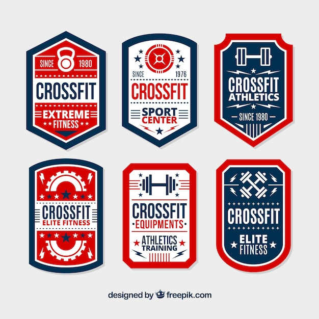 Blue and red crossfit lable collection