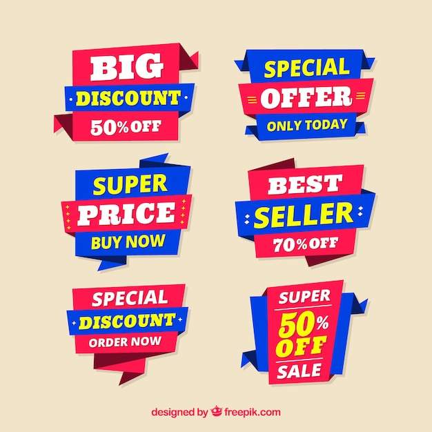 Blue and red origami discount stickers Free Vector