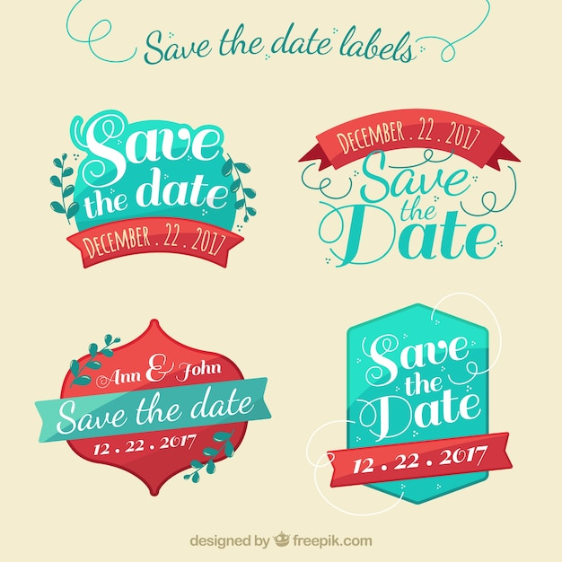 Blue and red save the date labels Free Vector
