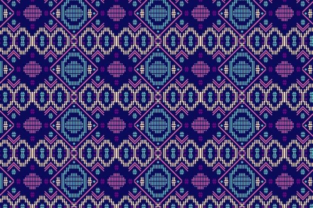 青と紫のソンケットのシームレスなパターンテンプレート Premiumベクター