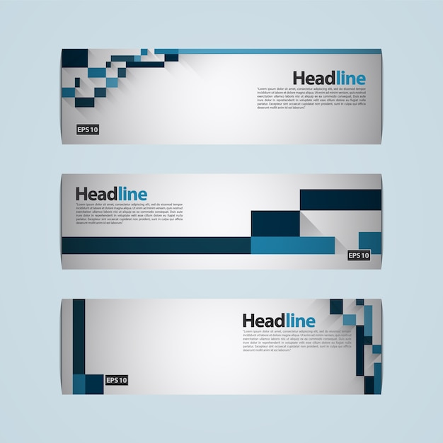 Blue and white banner with geometric design Free Vector
