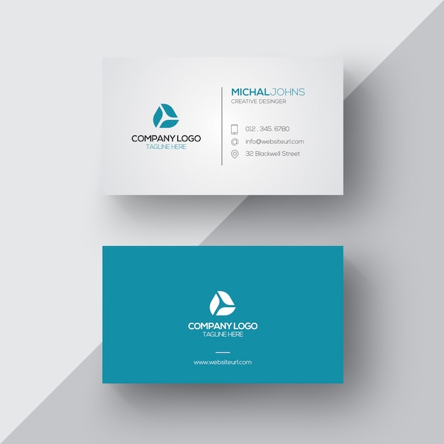 blue and white business card free vector