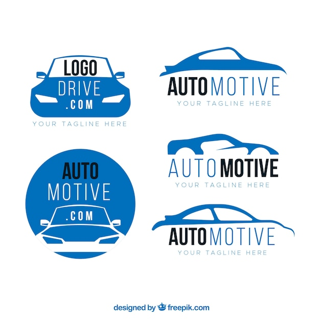 Blue and white car logo collection Free Vector