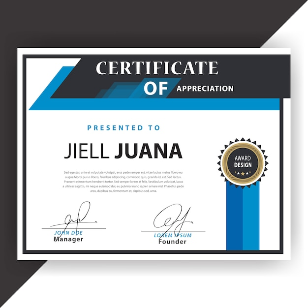 blue and white certificate template vector free download