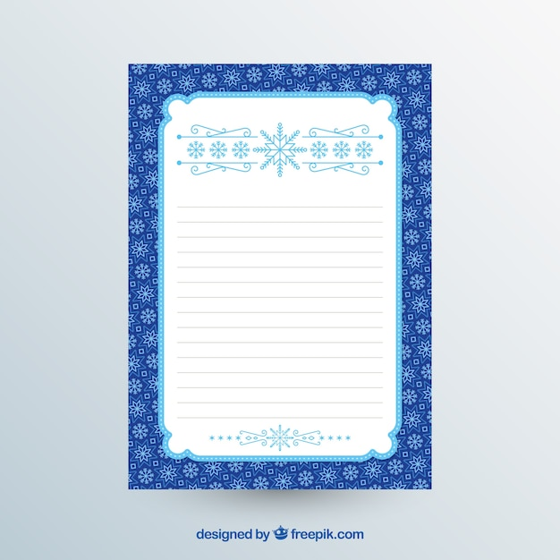 Blue and white christmas letter template Free Vector