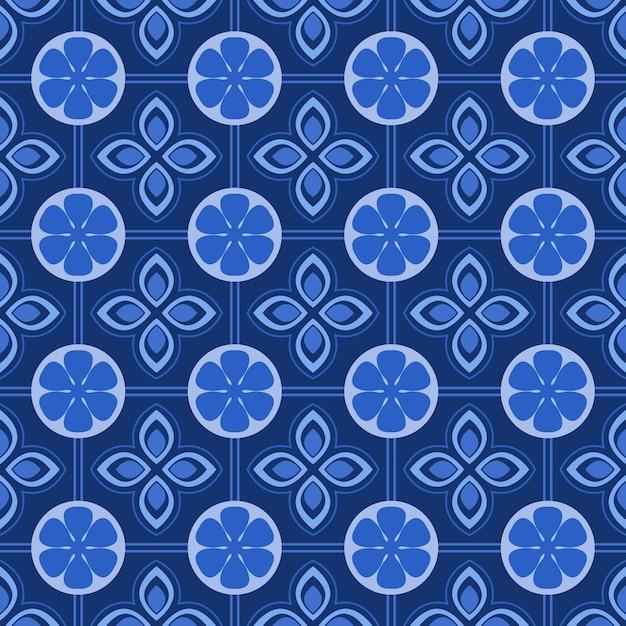 青と白のダマスク織のシームレスな花柄の背景。 Premiumベクター