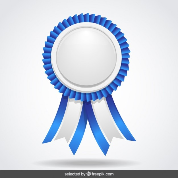 Blue and white label with ribbons Free Vector