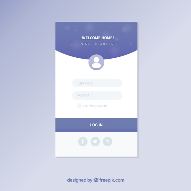 blue and white login form template vector free download