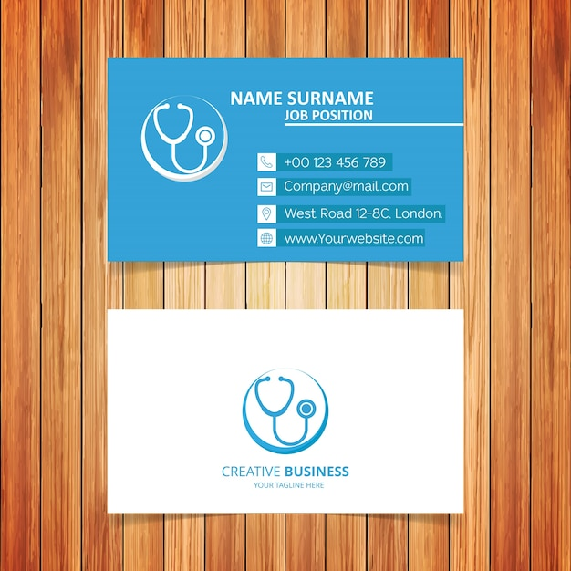 Blue And White Medical Business Card Free Vector