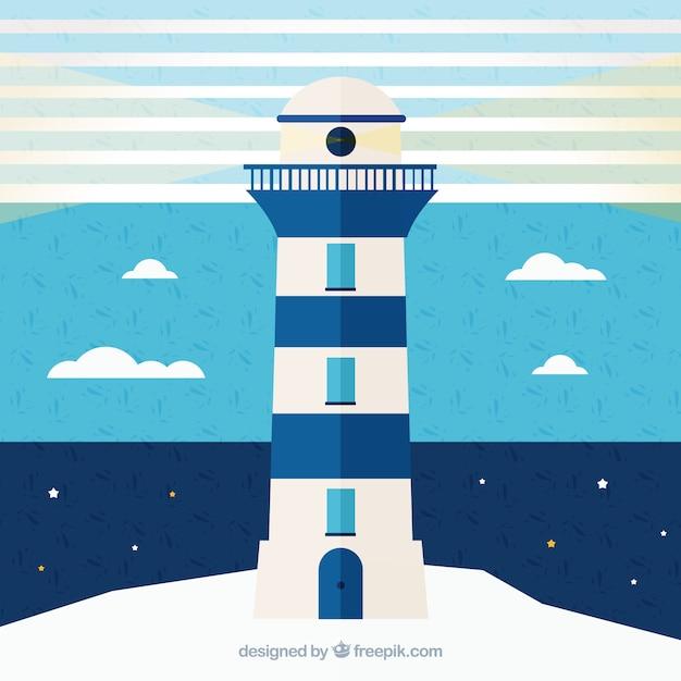 Синий и белый фон с мореходное маяка Бесплатные векторы