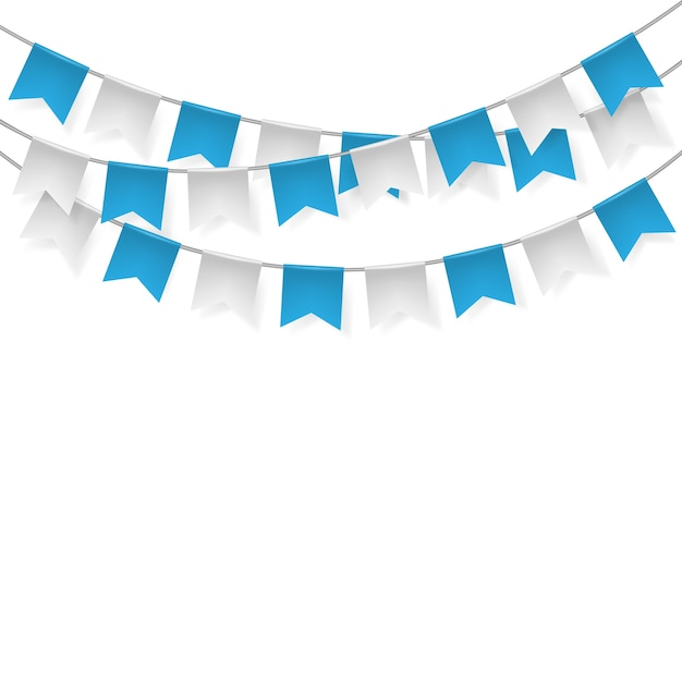 blue and white party flags on white background vector premium download