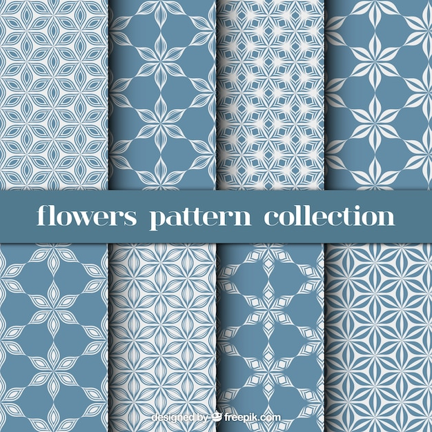 Blue and white patterns with flowers